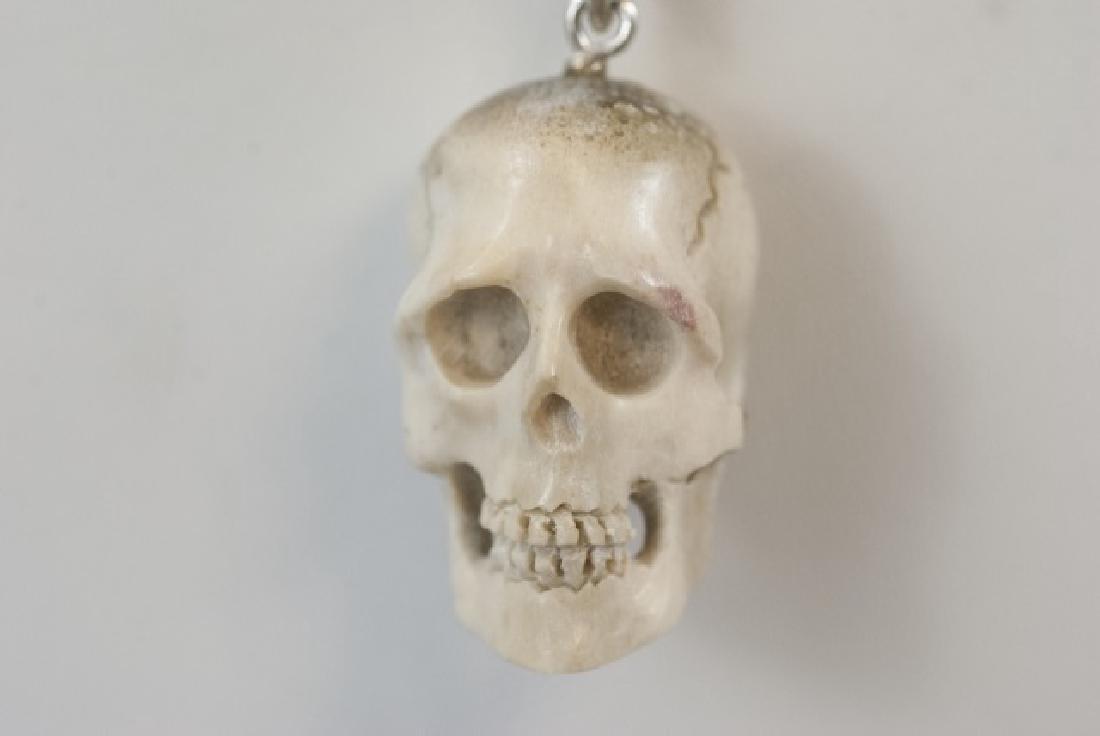 Hand Carved Horn Memento Mori Necklace Pendant - 2