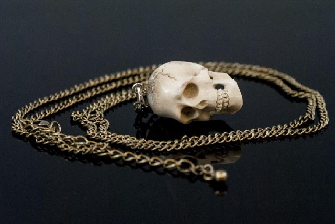 Hand Carved Horn Memento Mori Necklace Pendant - 3
