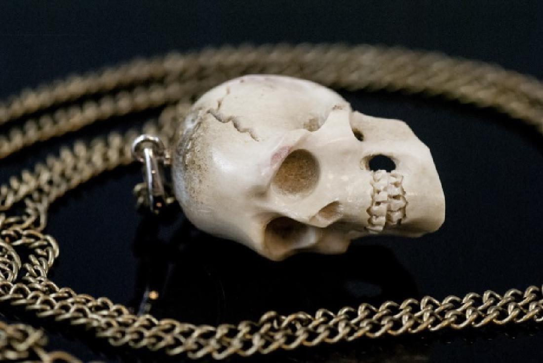 Hand Carved Horn Memento Mori Necklace Pendant - 4