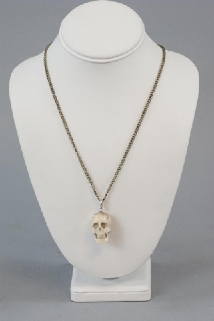 Hand Carved Horn Memento Mori Necklace Pendant - 5