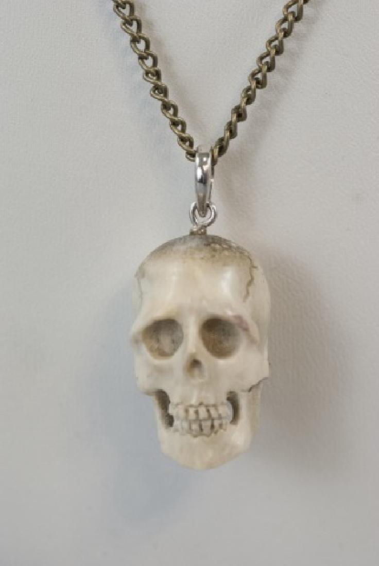 Hand Carved Horn Memento Mori Necklace Pendant - 6