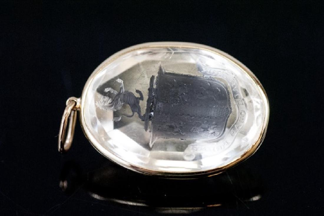 Antique 19th C Rock Crystal Armorial Pendant - 3