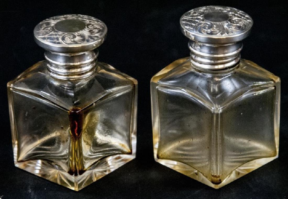 Pair of Antique Glass & Silver Perfume Bottles