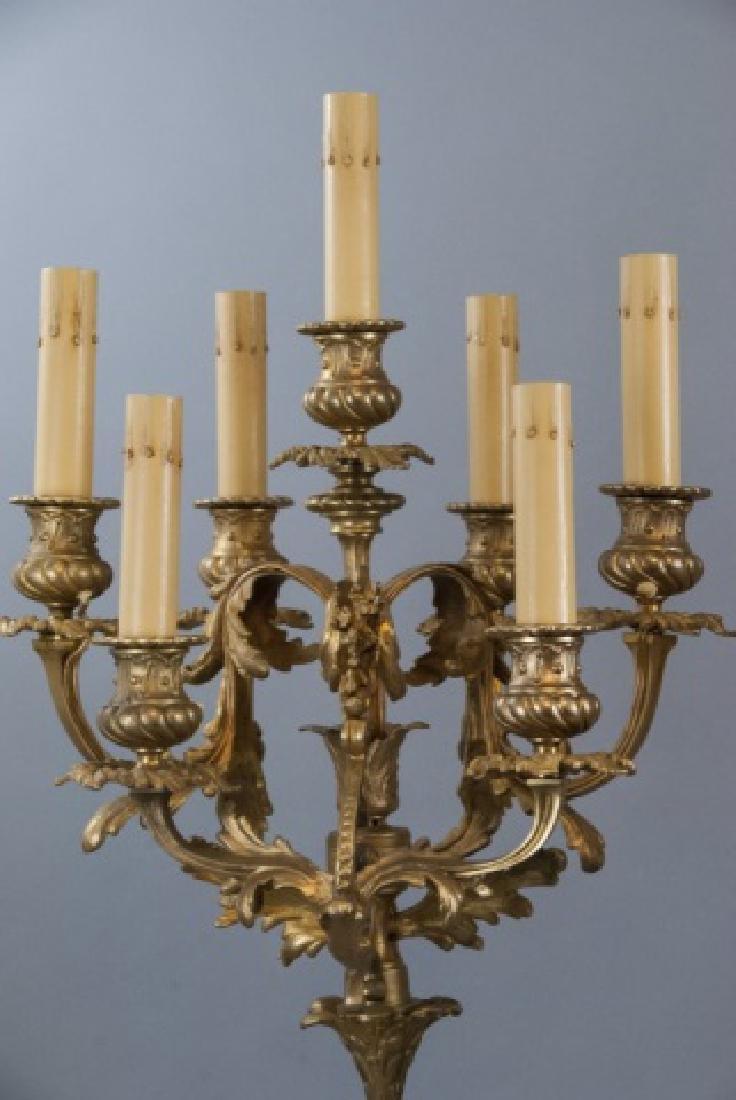 Pair French Rococo Gilt Bronze Ormolu Candelabras - 3
