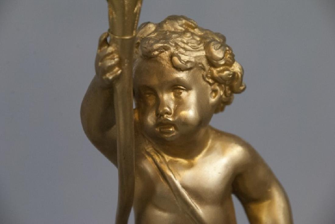 Pair French Rococo Gilt Bronze Ormolu Candelabras - 6