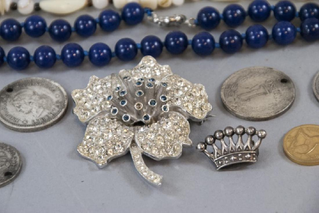Sterling Silver Crown Brooch & Assorted Costume - 6