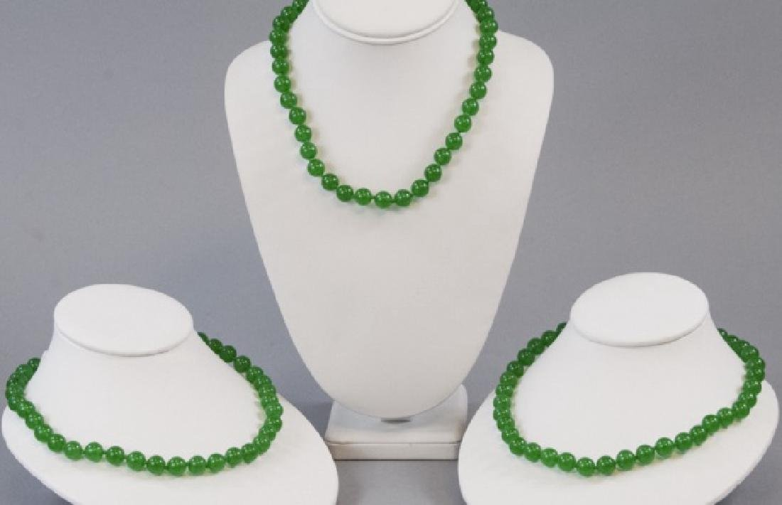 Three Chinese Green Jade Hand Knotted Necklaces