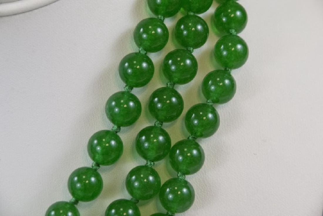 Three Chinese Green Jade Hand Knotted Necklaces - 2