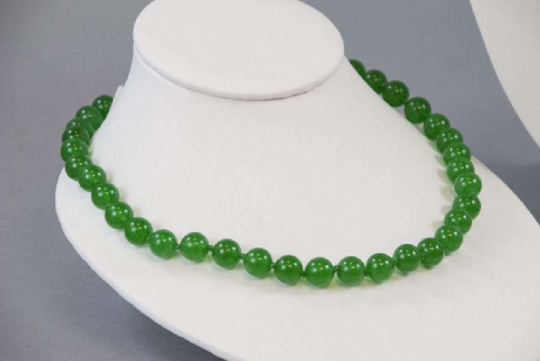 Three Chinese Green Jade Hand Knotted Necklaces - 3