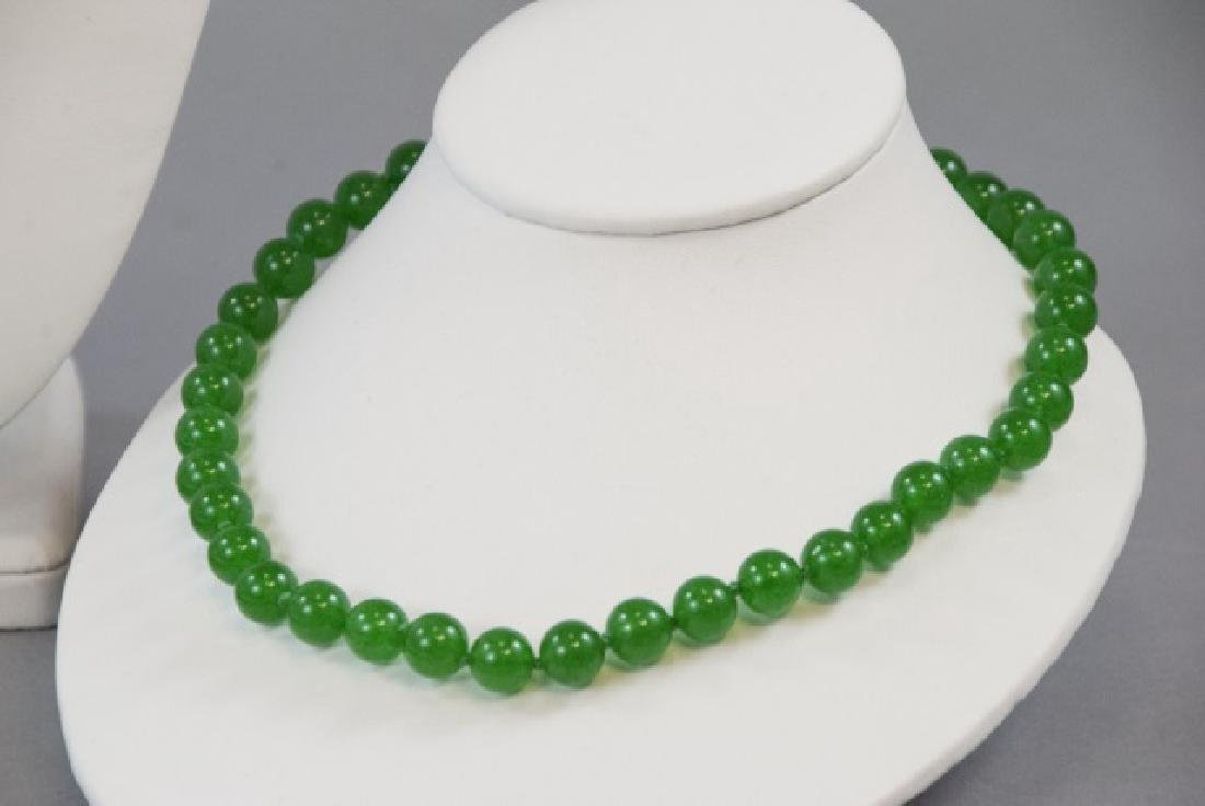 Three Chinese Green Jade Hand Knotted Necklaces - 4