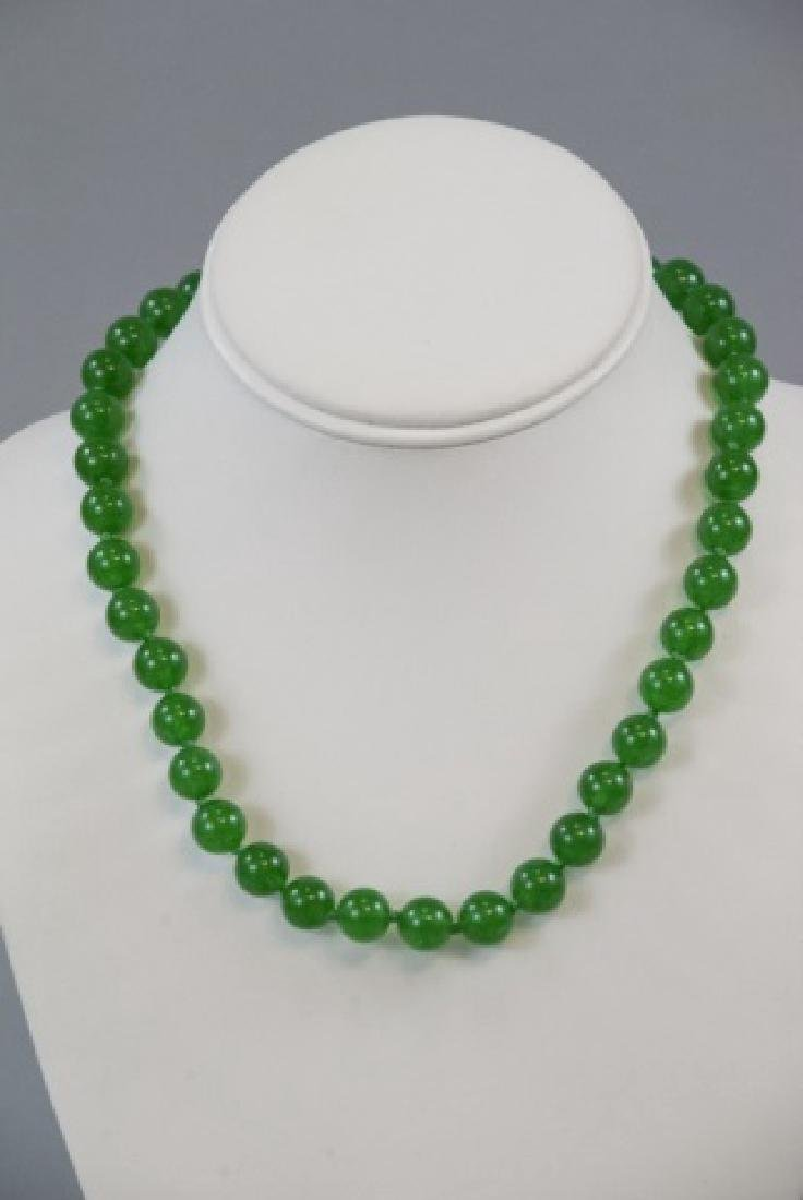Three Chinese Green Jade Hand Knotted Necklaces - 5