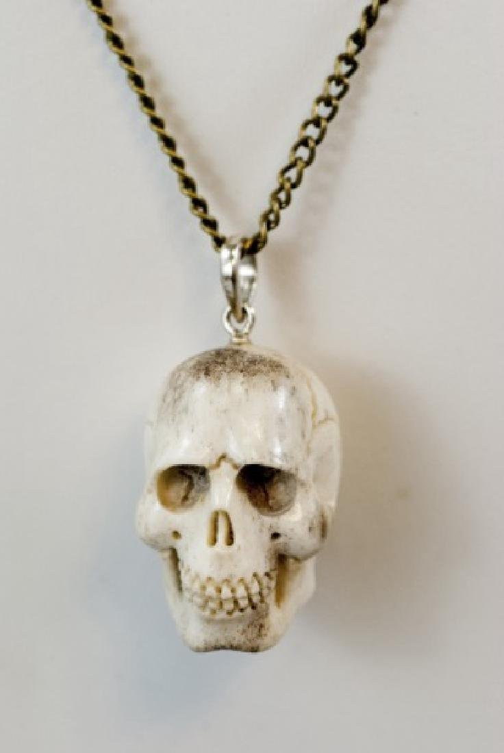 Hand Carved Horn Memento Mori Skull Necklace