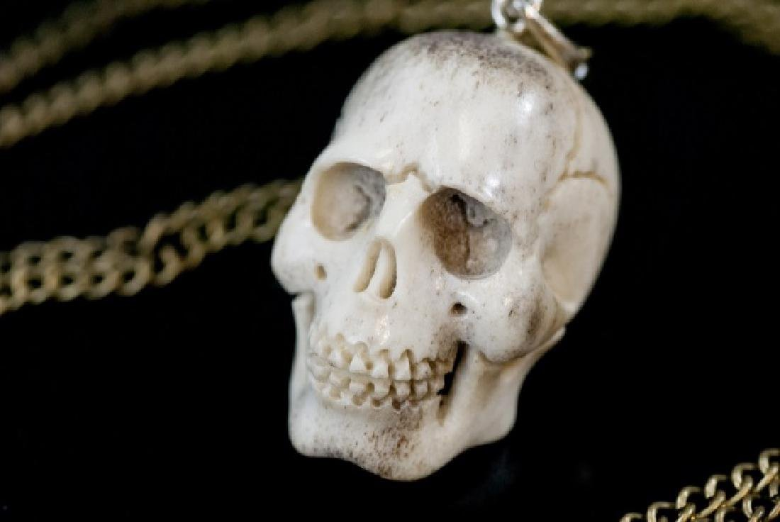 Hand Carved Horn Memento Mori Skull Necklace - 8