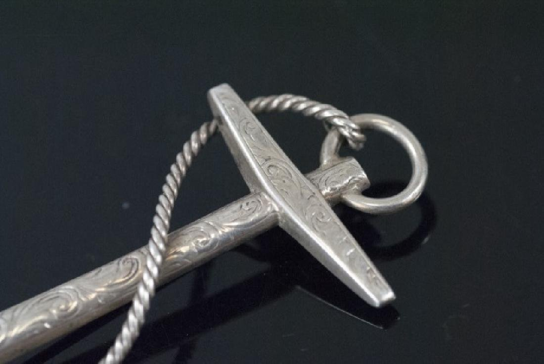 Antique English Sterling Silver Ship Anchor Brooch - 2