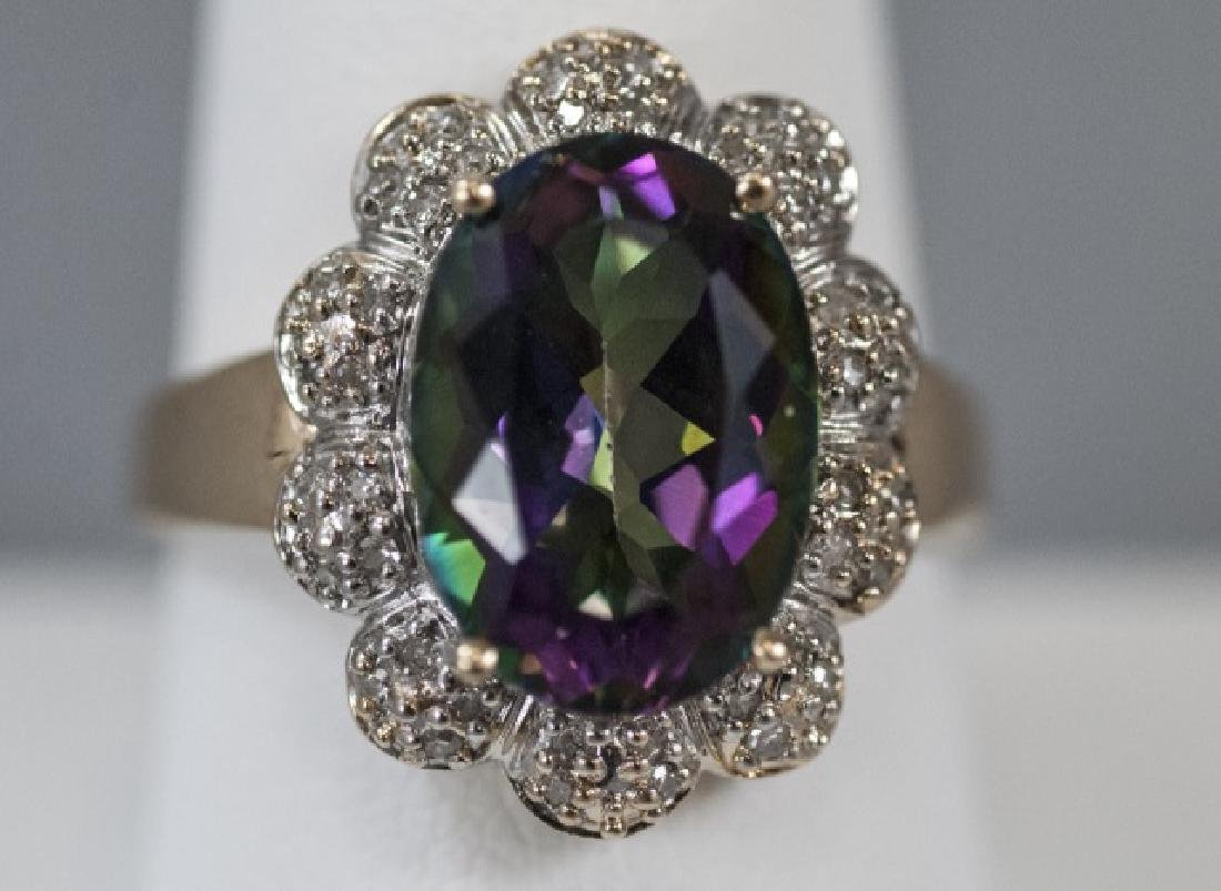 Estate 14kt Gold Diamond & Mystic Topaz Ring