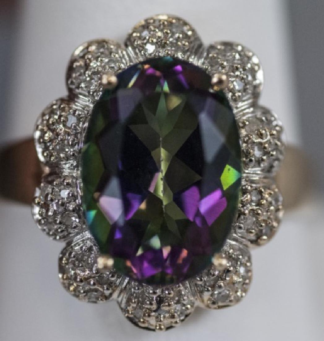 Estate 14kt Gold Diamond & Mystic Topaz Ring - 2