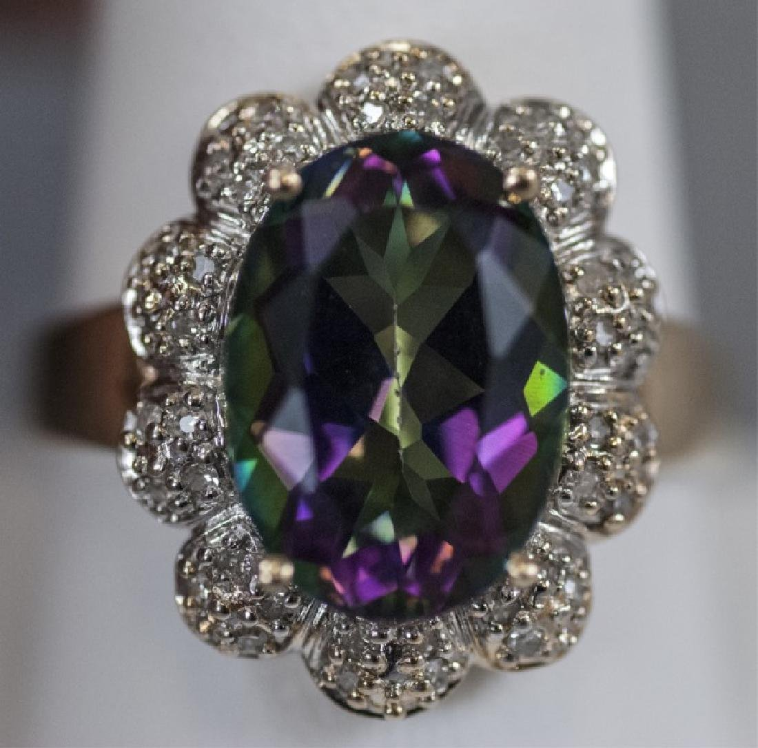 Estate 14kt Gold Diamond & Mystic Topaz Ring - 3