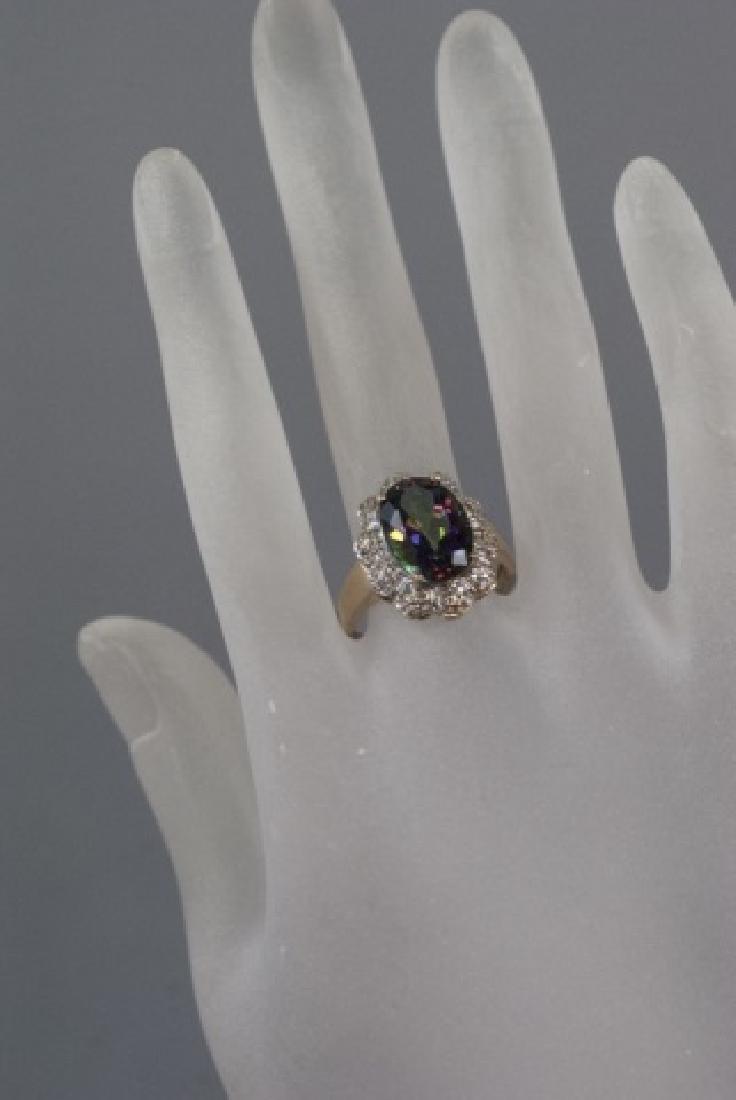 Estate 14kt Gold Diamond & Mystic Topaz Ring - 4