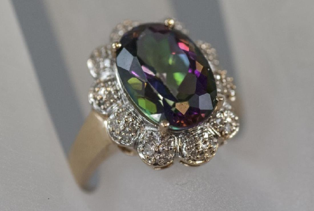 Estate 14kt Gold Diamond & Mystic Topaz Ring - 5
