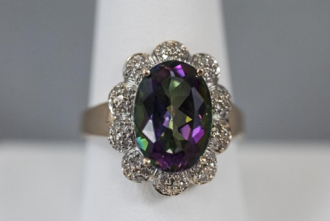 Estate 14kt Gold Diamond & Mystic Topaz Ring - 6