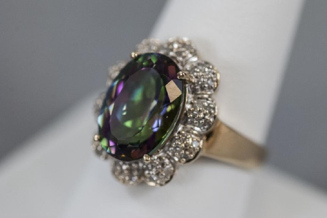 Estate 14kt Gold Diamond & Mystic Topaz Ring - 7