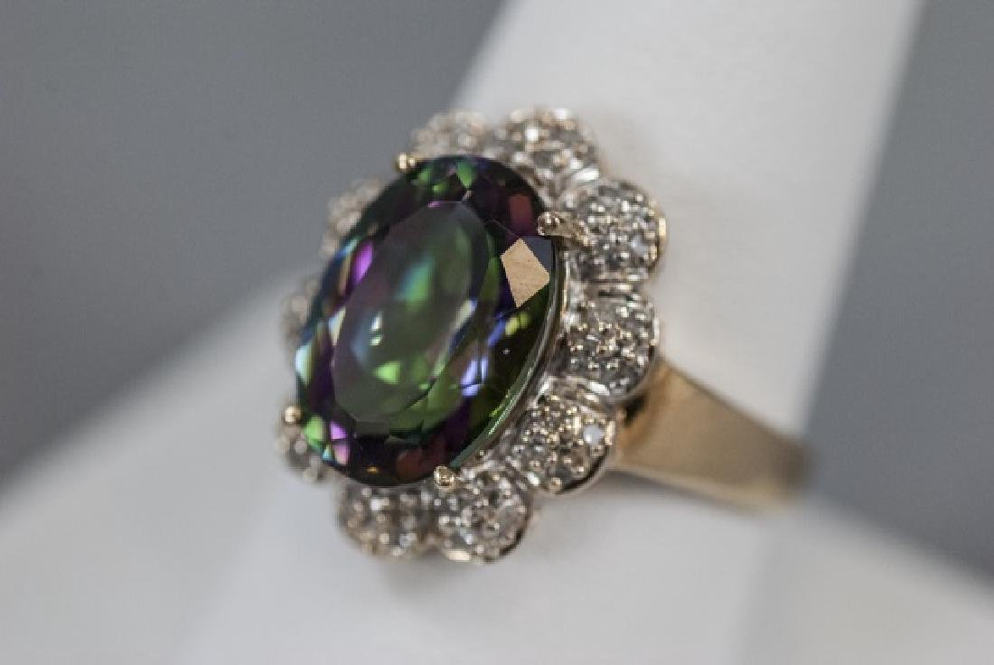 Estate 14kt Gold Diamond & Mystic Topaz Ring - 8