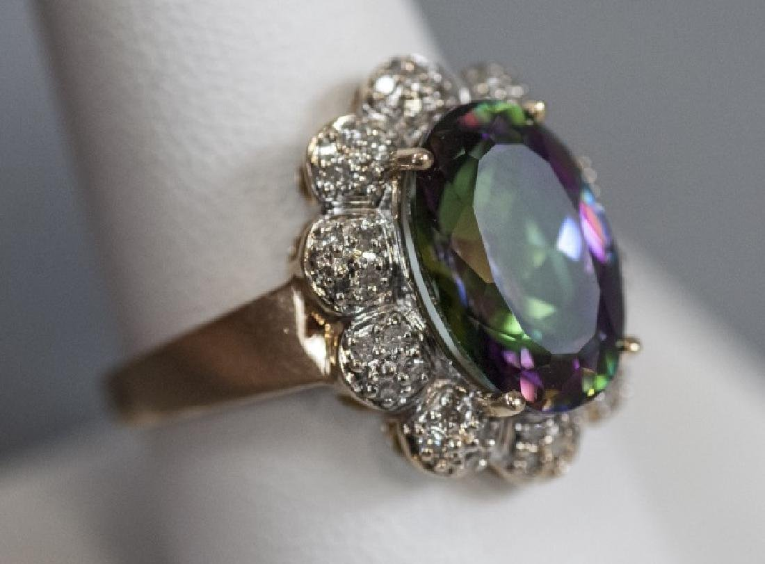 Estate 14kt Gold Diamond & Mystic Topaz Ring - 9