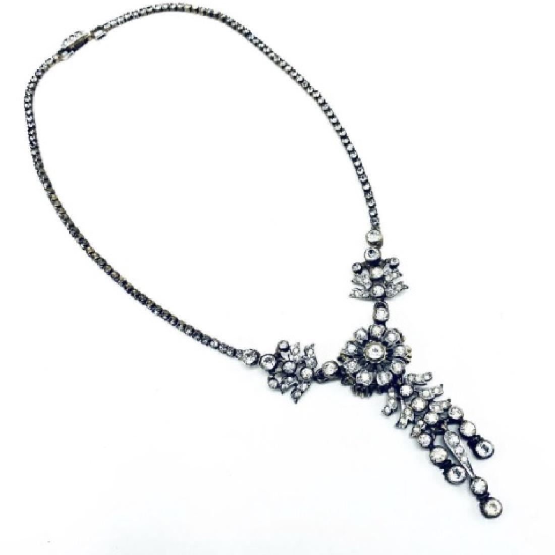 DeRosa Sterling & Rhinestone Floral Necklace