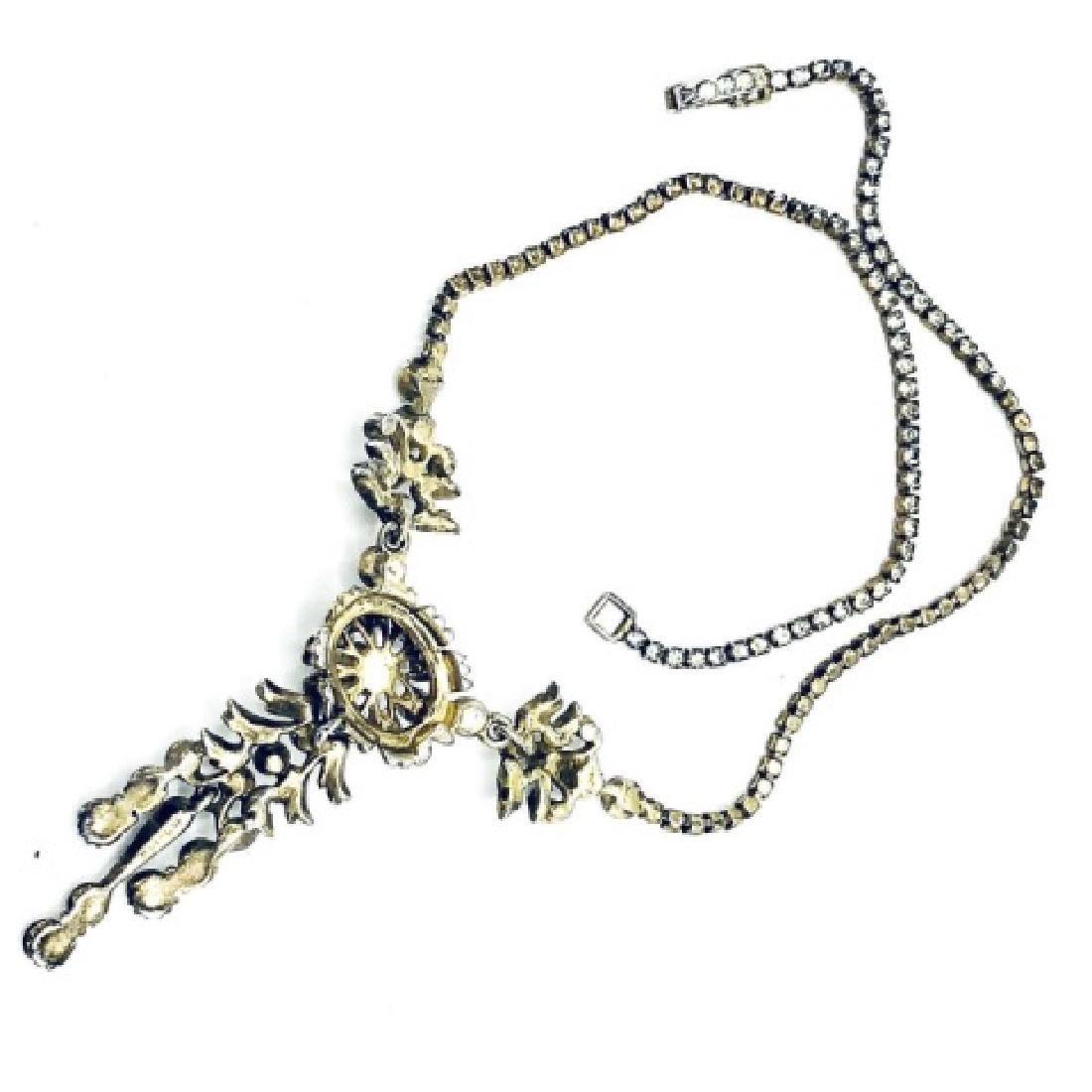 DeRosa Sterling & Rhinestone Floral Necklace - 2