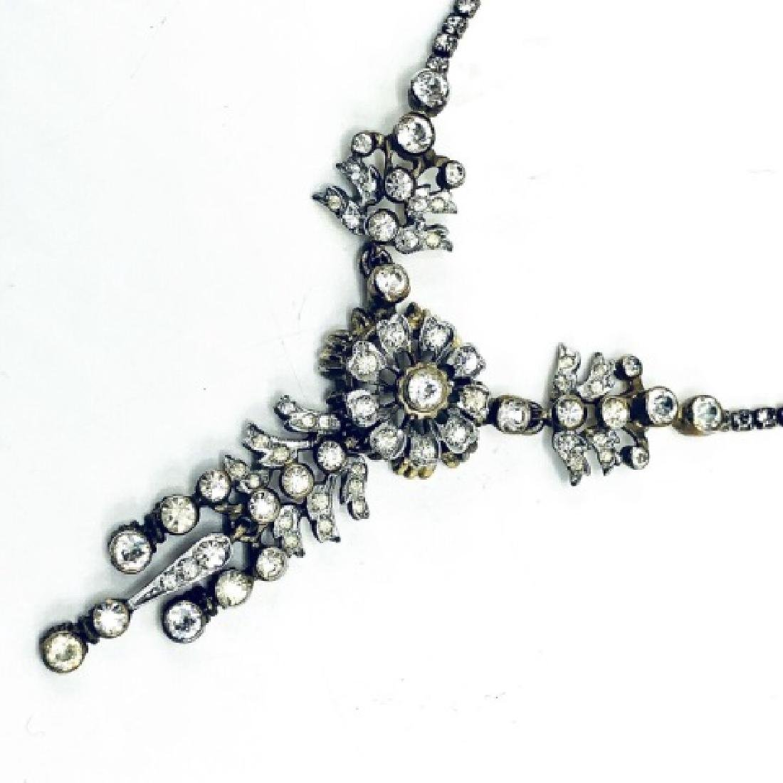 DeRosa Sterling & Rhinestone Floral Necklace - 3