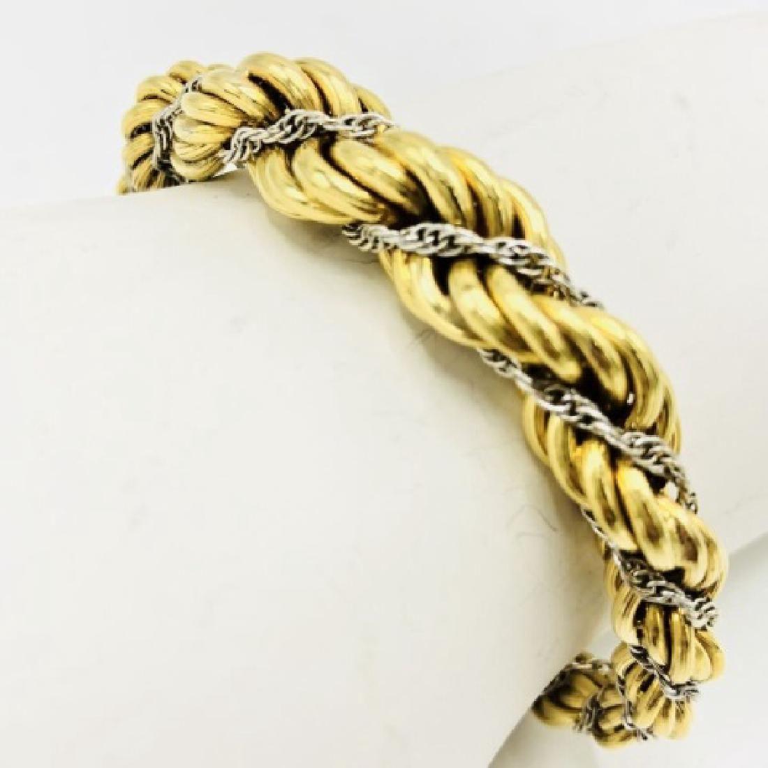 Estate 14kt White & Yellow Gold Italian Bracelet