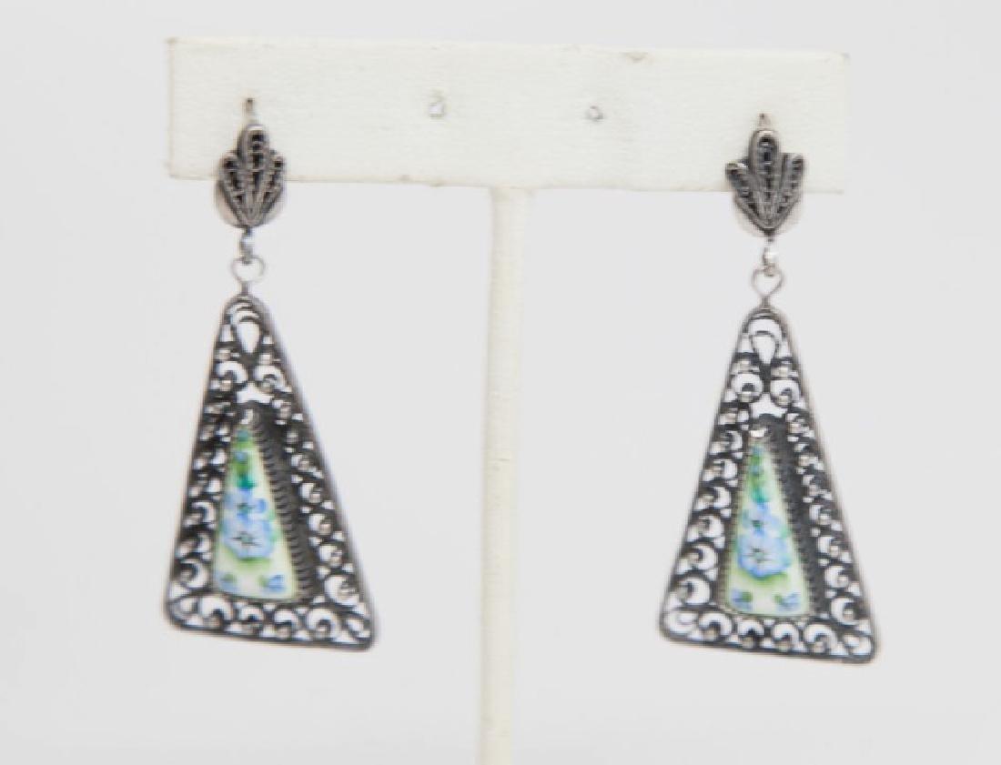 Pair Russian Silver Filigree & Porcelain Earrings