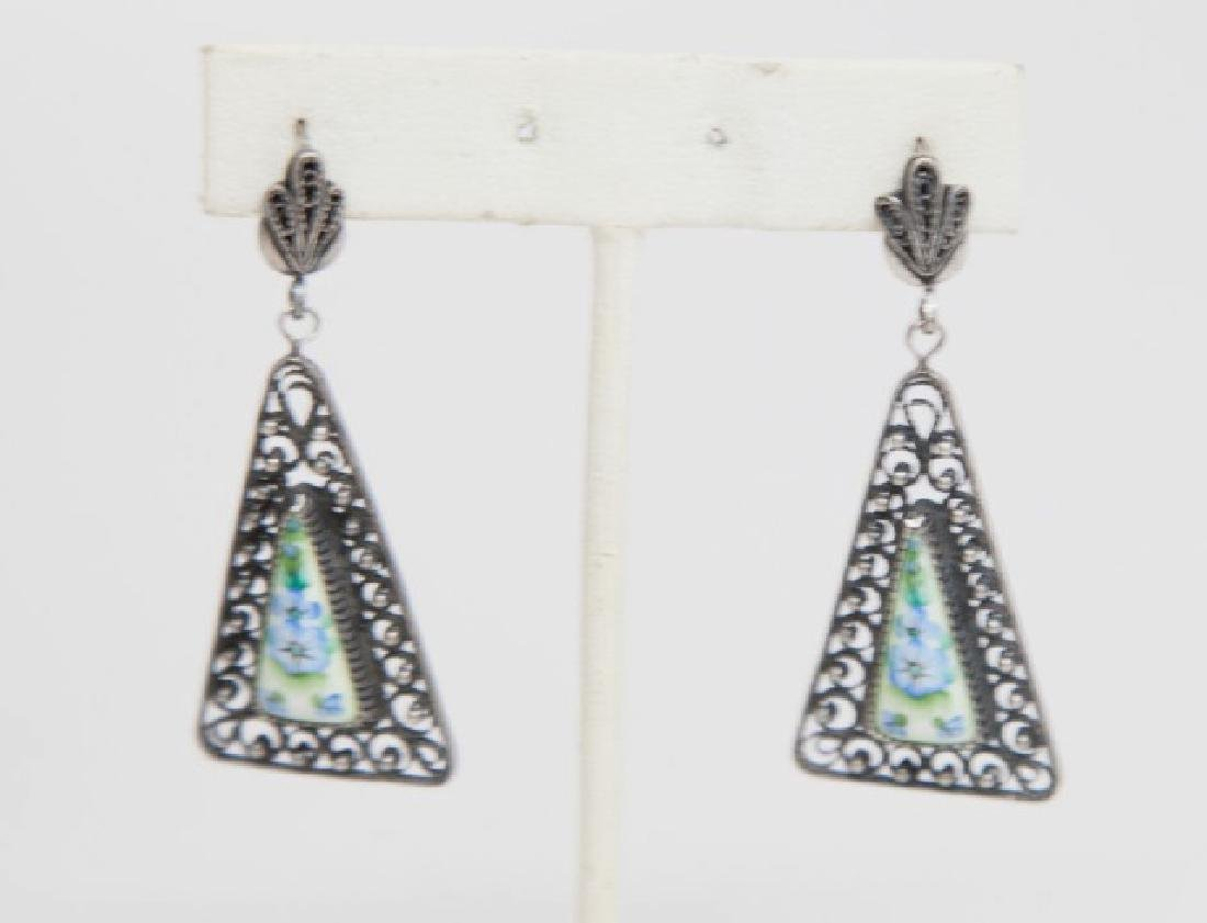 Pair Russian Silver Filigree & Porcelain Earrings
