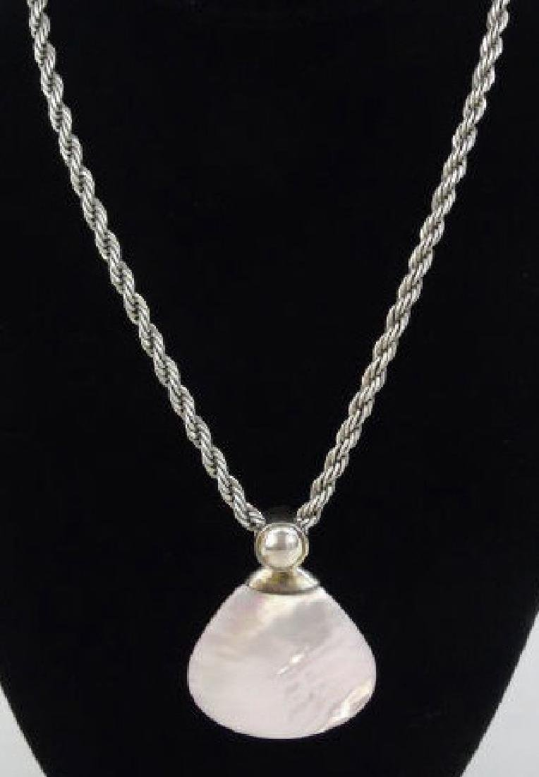 Contemporary Sterling & Mother of Pearl Necklace