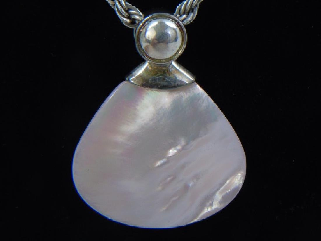 Contemporary Sterling & Mother of Pearl Necklace - 4