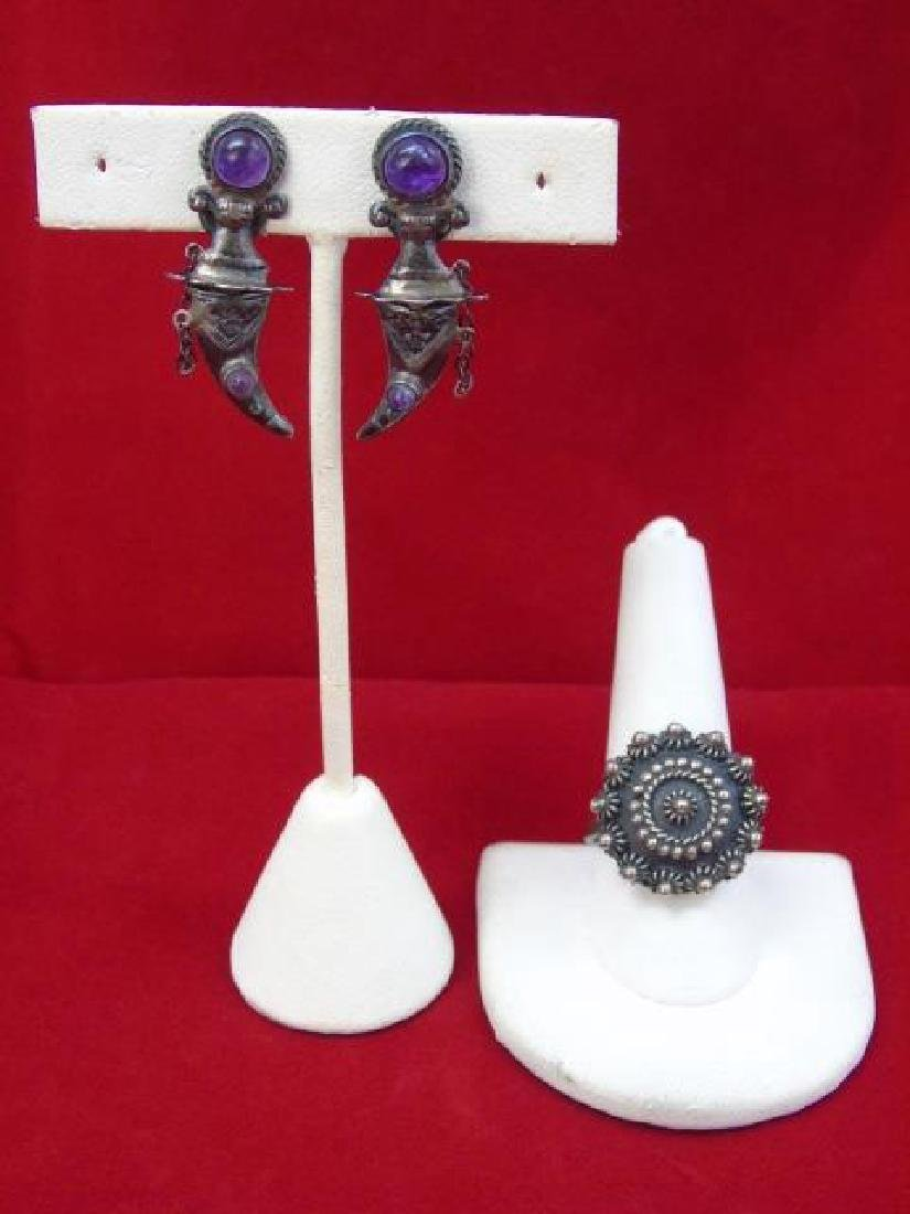 Mexican Sterling Silver Jewelry - Ring & Earrings