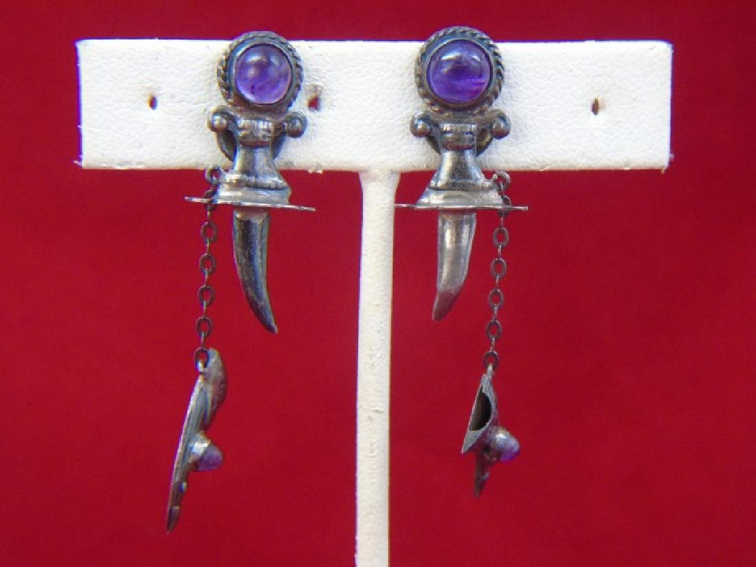 Mexican Sterling Silver Jewelry - Ring & Earrings - 7