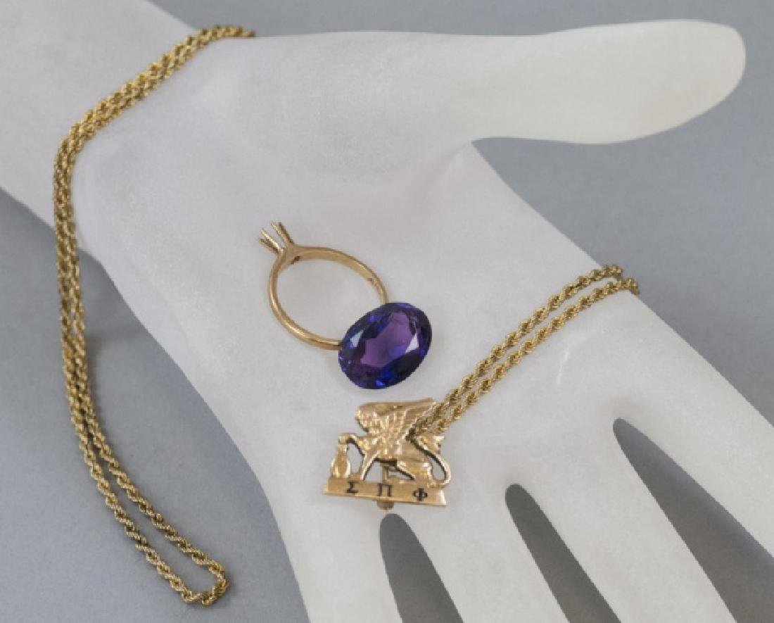 14kt Gold Ring Setting, Pin, Amethyst & Chain