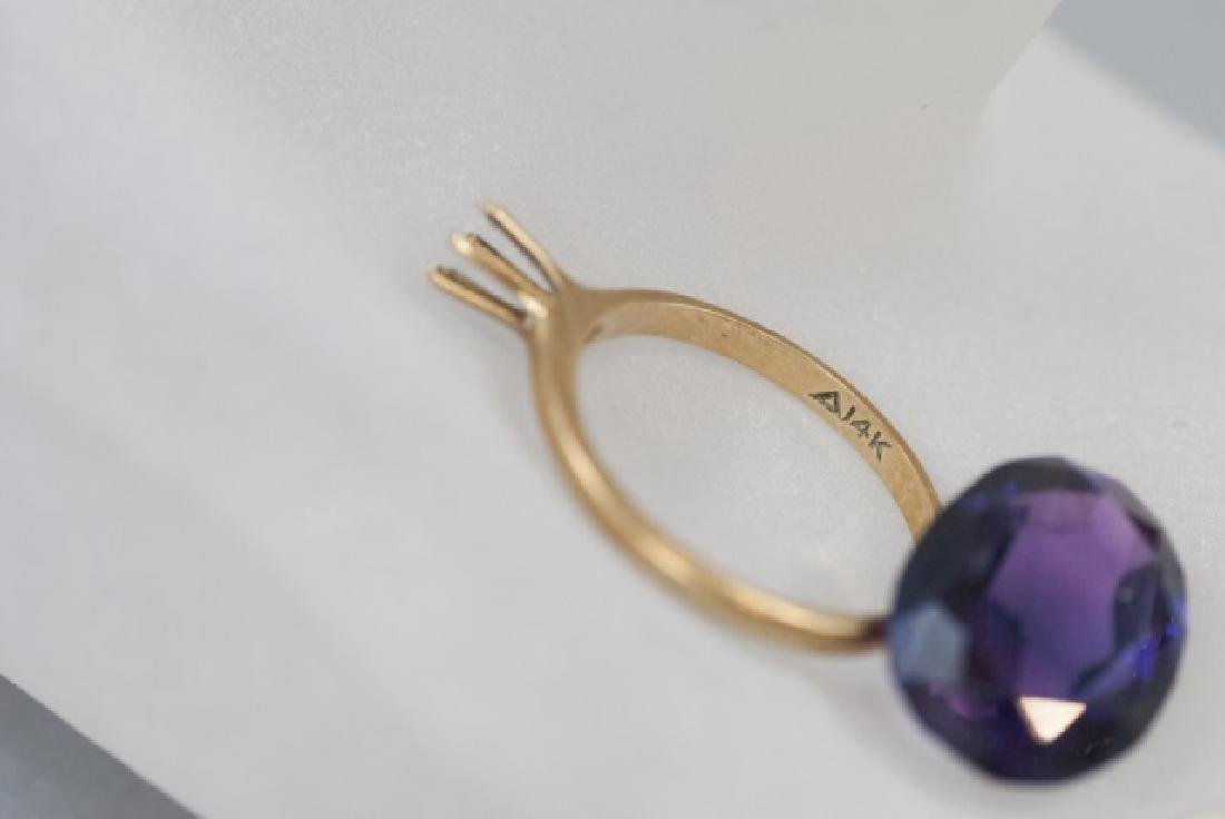 14kt Gold Ring Setting, Pin, Amethyst & Chain - 2
