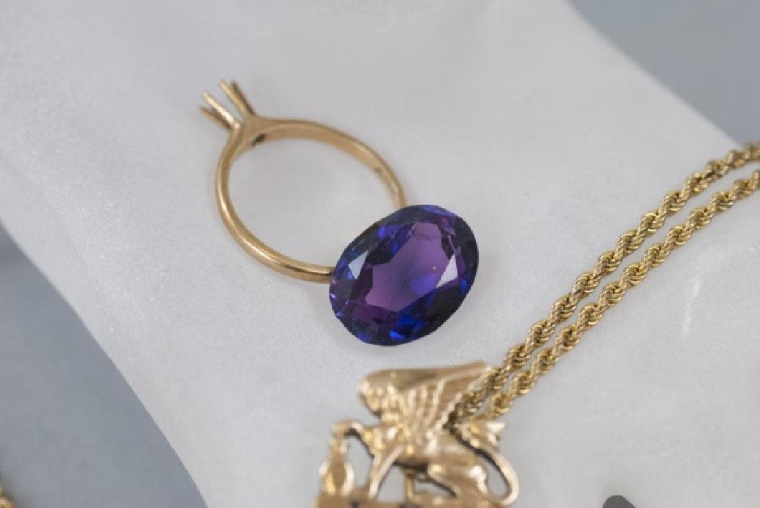 14kt Gold Ring Setting, Pin, Amethyst & Chain - 4