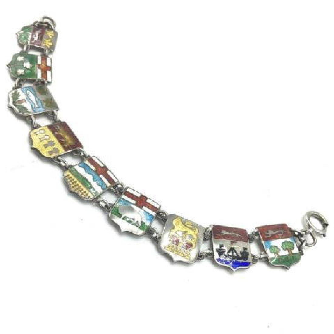 Estate / Antique Sterling & Enamel Shield Bracelet - 3