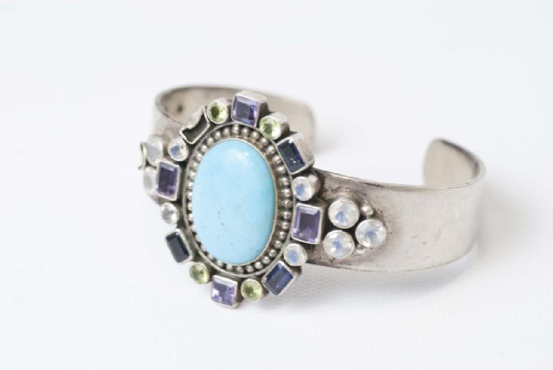 Turquoise & Crystal Sterling Silver Cuff Bracelet
