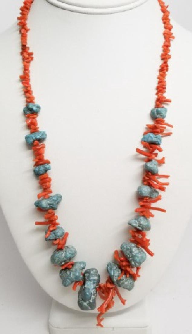 Estate Vintage Handmade Coral & Turquoise Necklace