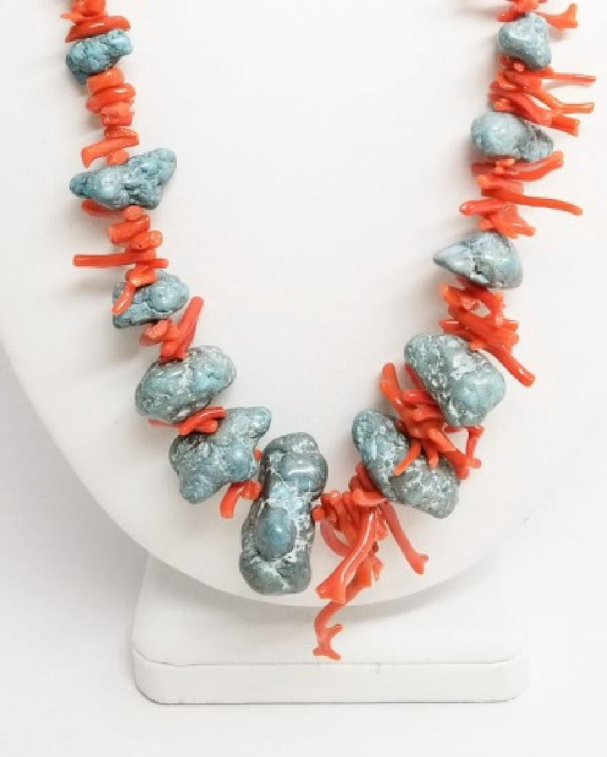 Estate Vintage Handmade Coral & Turquoise Necklace - 5