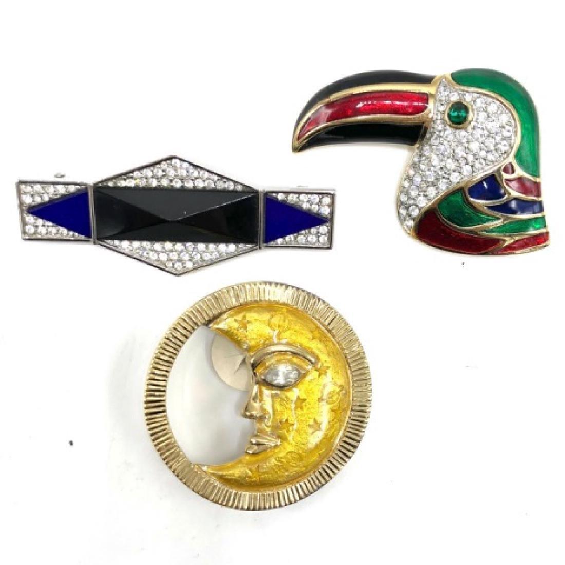 Vintage Trio of Costume Jewelry 80s Pins