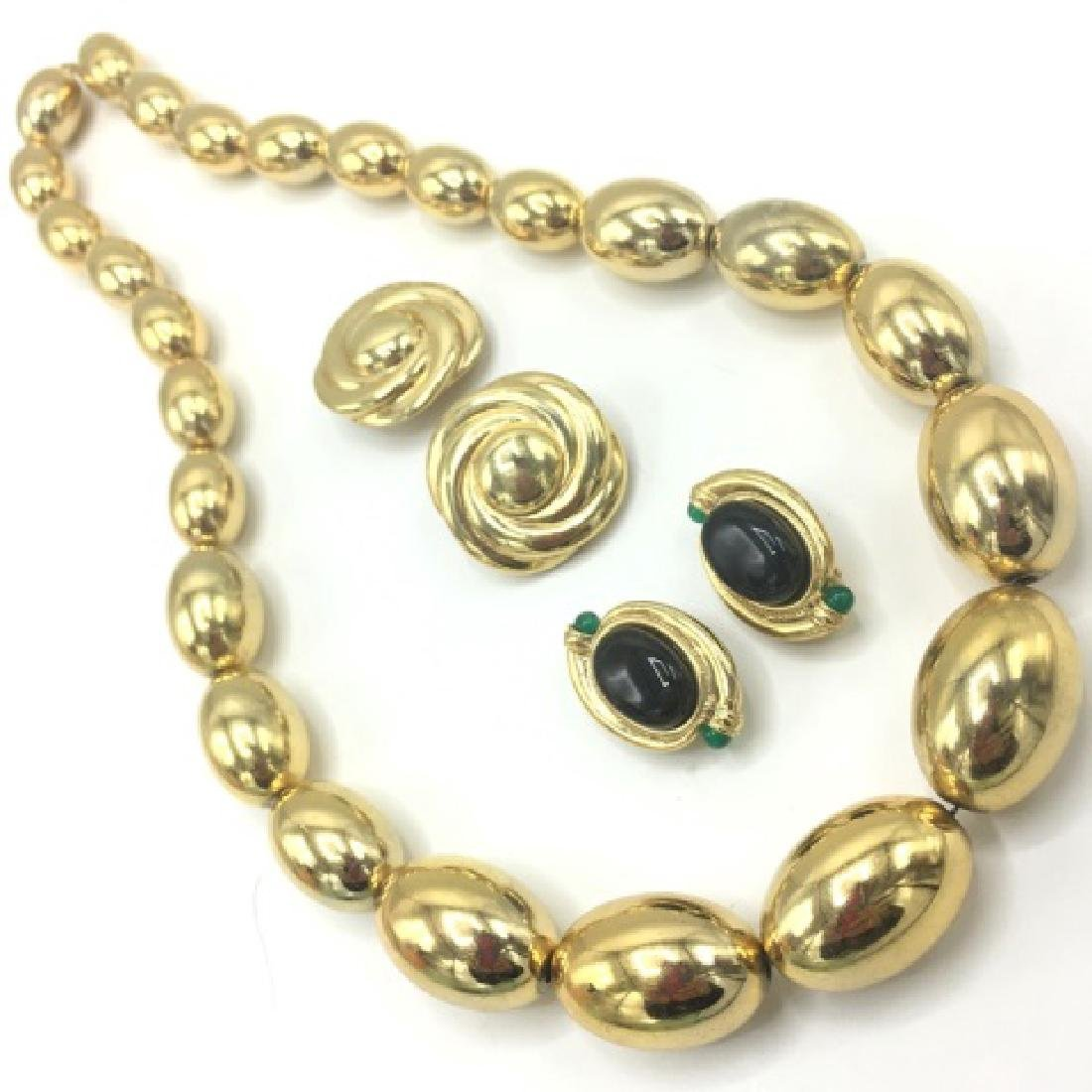 Vintage 1980s Gold Tone Costume Jewelry Set