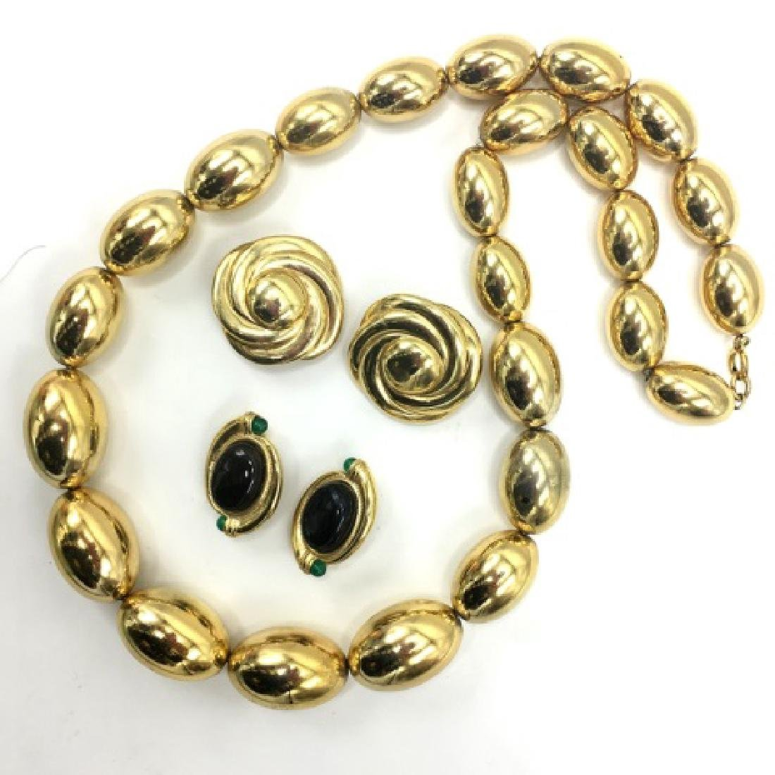 Vintage 1980s Gold Tone Costume Jewelry Set - 2