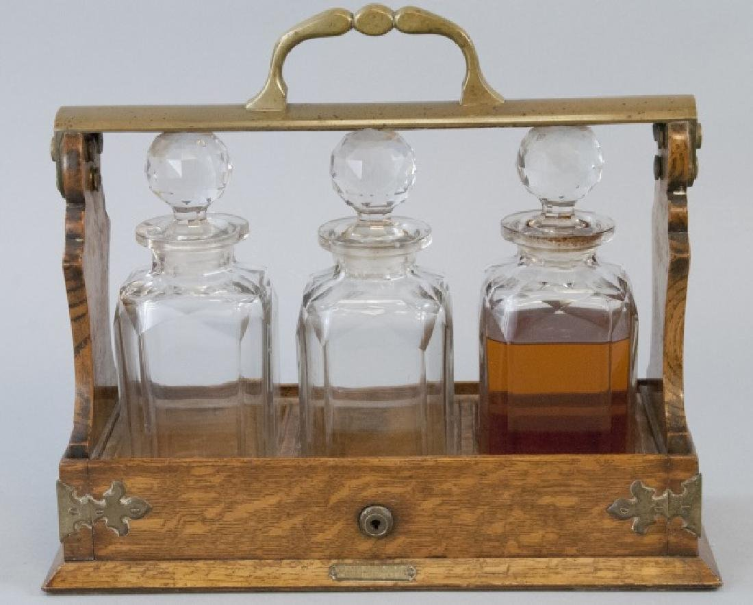 19th Century English Tantalus w 3 Decanters