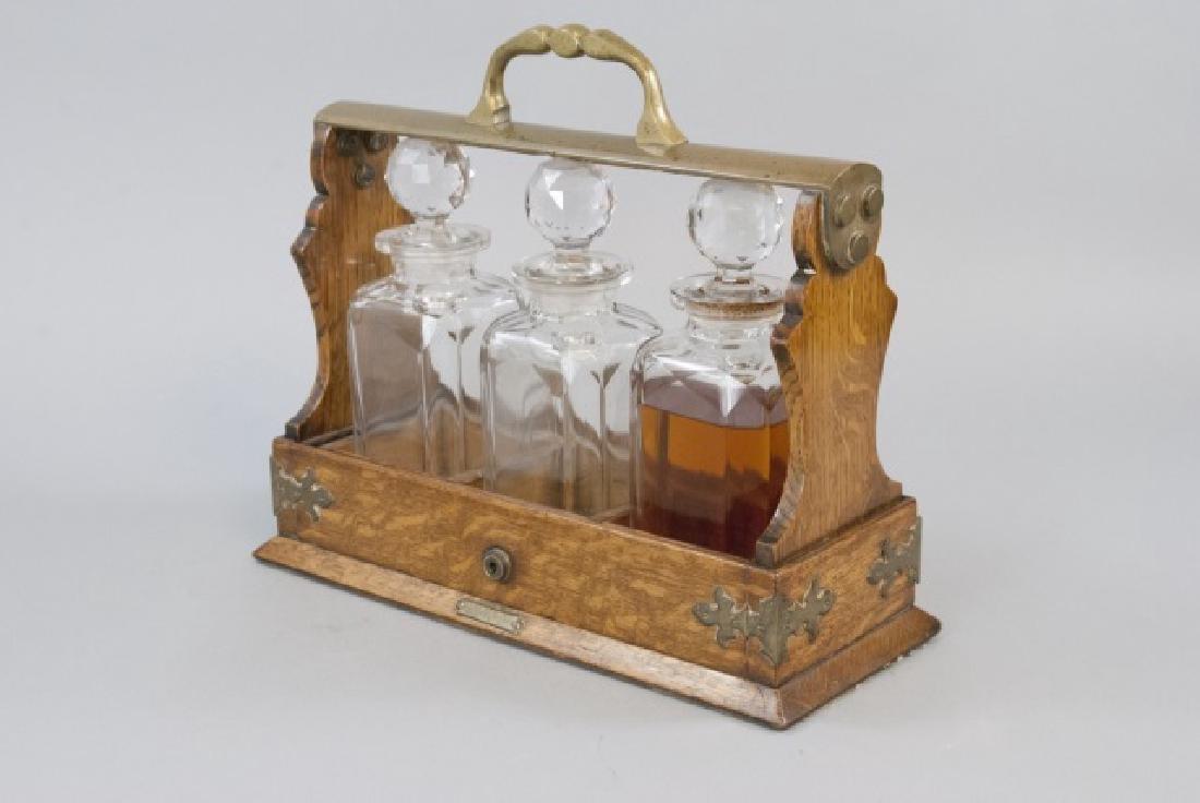19th Century English Tantalus w 3 Decanters - 7