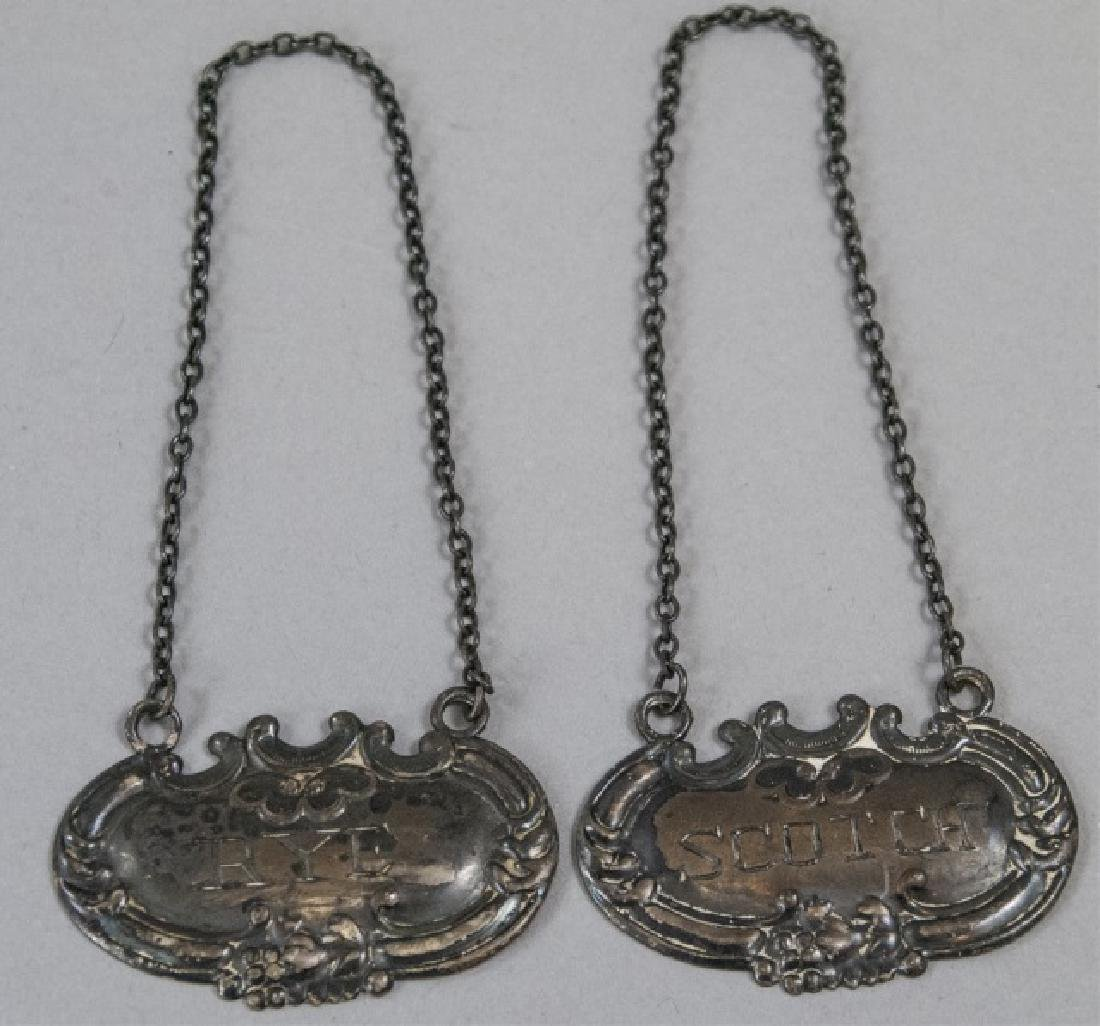 Pair 19th Century  Sterling Silver Decanter Tags